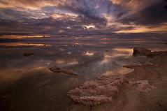 Serene Reflection_DSC5453_E (antelope reflection) Tags: statepark sunset lake reflection beach water colors utah antelopeisland greatsaltlake nikond90
