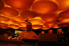 Sushi Chef at Sushi Samba - South Beach, FL (ChrisGoldNY) Tags: travel people food orange fish architecture portraits sushi poster design forsale florida miami circles restaurants funky frombelow albumcover plates fl bookcover miamibeach headbands sushisamba southbeach discs eater southflorida chefs sobe miaminewtimes challengewinners thechallengefactory chrisgoldny chrisgoldberg chrisgold chrisgoldphotos