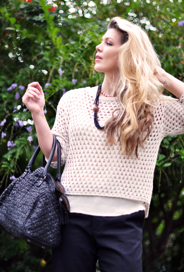 open knit ivory short sweater - messy blonde hair-vintage necklace-woven leather bag