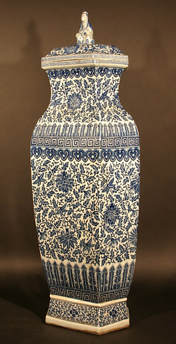 A 19th century blue and white hexagonal Chinese vase which sold for £35,000