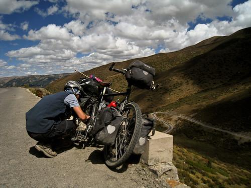 Justin adjusting brakes for descent