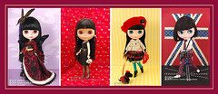 Neo Blythe Comparison: B2 HOLiC (far left), Night Flower (NF/second), Bow Wow Trad (BWT/third) and Punkaholic People (PuPe/far right)