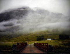 UNDER THE WEATHER(over the bridge) (kenny barker) Tags: bridge house mist mountains green wet fog fleurs landscape scotland highlands whitehouse glen glencoe et paysages etive tistheseason pastfeaturedwinner kennybarker