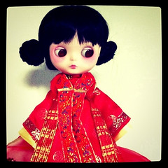 Little one in a red kimono