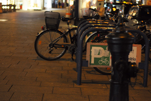 Bike Parking, Vienna at Night