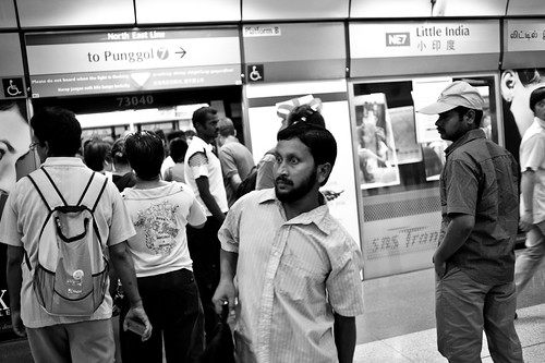 Wide eyed man at Little India MRT Station - he looks a little lost to me!
