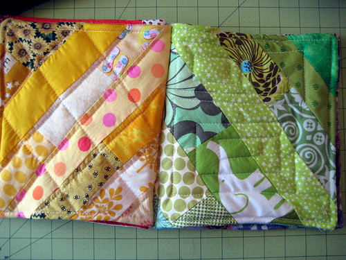 Yellow and green blocks/pages - fabric baby book