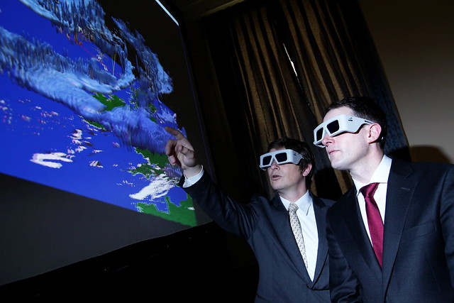 ICHEC Director Prof. JC Desplat and Minister Sean Sherlock TD explore the Harmonie weather model using ICHEC's 3D visualisation system