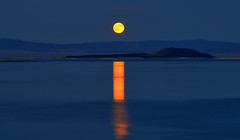 The Full Moon over Negit Island at Mono Lake (Dave Toussaint (www.photographersnature.com)) Tags: california ca travel blue sky orange usa moon lake reflection fall nature water northerncalifornia night photoshop canon dark landscape photo duck interestingness interesting highway skies glow photographer cs2 picture hwy clear explore adobe nights geology monolake hdr 1001 395 infocus leevining negitisland denoise 40d topazlabs topazadjust photographersnaturecom davetoussaint photoengine doubleniceshot mygearandme ringexcellence oloneo 2011october