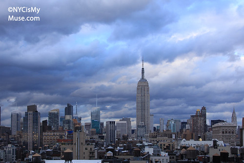 Empire State Building, skyline with massive late afternoon clouds