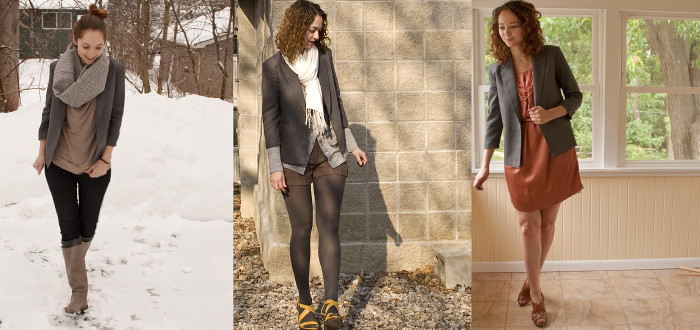 how to remix, shop your closet, thrifted boy's blazer, gray shrunken jacket