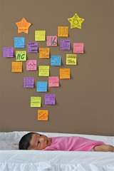 What Goes Through a Baby's Mind? (AJ Brustein) Tags: pink blue atlanta orange baby cute girl yellow wall canon ga georgia aj purple kylie post postit it thoughts mind newborn thinking crib if could speak litle facebook brustein 50d ifababycouldspeak babysthoughts