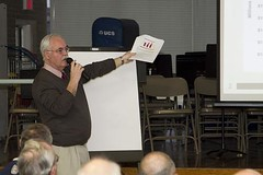 Rep. Betts gives details of the Governor's proposed budget during a town hall meeting Bristol