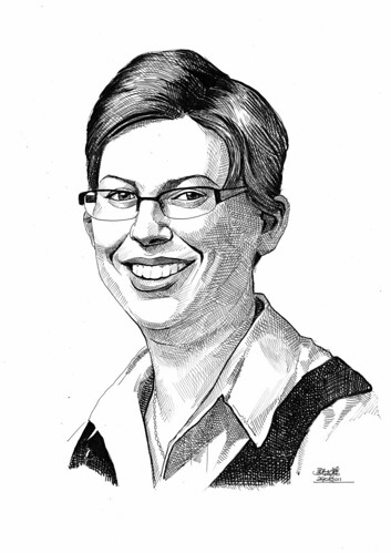 Portrait in pen and brush of Dr. Bernadette Nixon