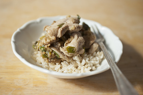 Stir-Fried Chicken with Scallions and Oyster Mushrooms