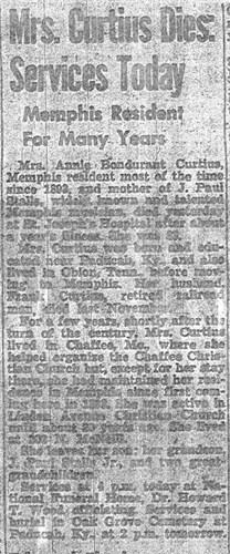 "Mary J ""Annie"" Bonurant Obituary"