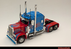 Optimus Prime in Lego (bricksonwheels) Tags: prime lego transformers peterbilt lugnuts lowlug optimis bricksonwheels
