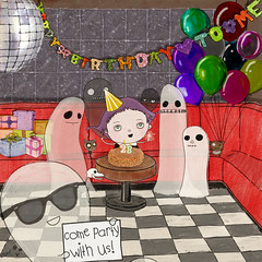 happy birthday to me (crosti) Tags: decorations cute love halloween girl cake illustration bar club cat vintage blackcat balloons poster dead disco sketch cool paint candles banner athens birthdayparty sparklers couch greece event gifts 80s cult ghosts 28 discoball bloodymary markers rayban purplehair deaddog happybirthdaytome djset 5thofnovember crosti funeralparty christinatsevis
