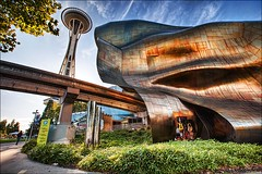 EMP & Space Needle, Seattle (IanGood) Tags: seattle fiction music usa museum canon project washington science experience wa spaceneedle experiencemusicproject monorail emp hdr photomatix seattlecentre topazadjust 5dmk2 topazdetail