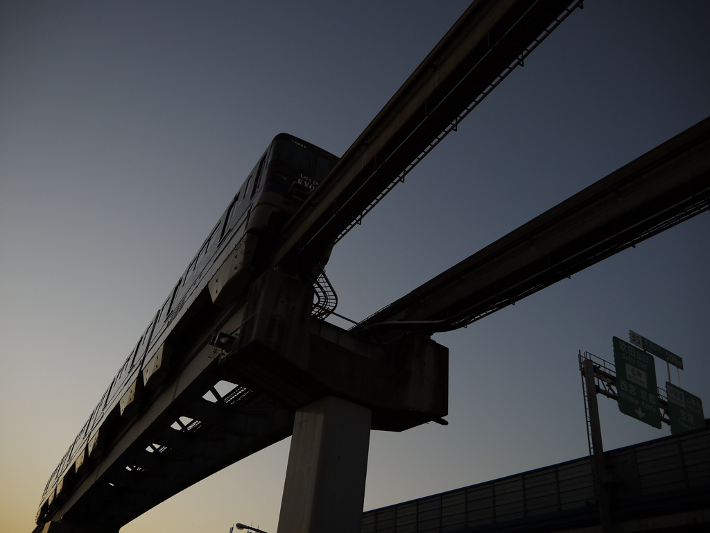 Osaka Monorail at dusk