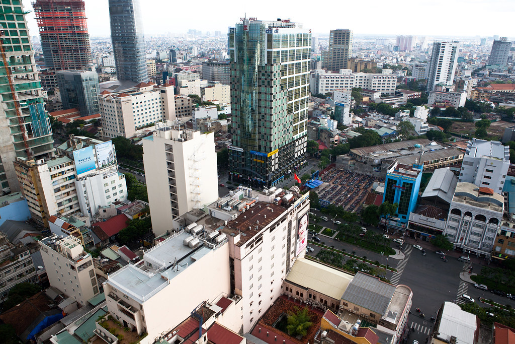 downtown saigon ho chi minh city skyline from the sheraton hotel