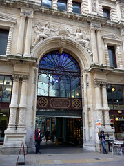 Great Western Arcade Entrance, a Big Issue? (stokeyouth1) Tags: autumn classic stone architecture birmingham arch columns entrance security panasonic shutter ornate salesman compact bigissue greatwesternarcade templerow dmctz5 stokeyouth1
