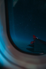 Night Flight (daniela beckmann) Tags: sky night plane airplane stars swiss aircraft wing himmel astrophotography nightflight airbus flugzeug sterne flug a340300 nachthimmel wingview