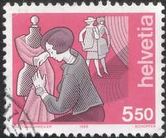 dressmaker stamp (Jimmy Trickle) Tags: switzerland stamp helvetia dressmaker