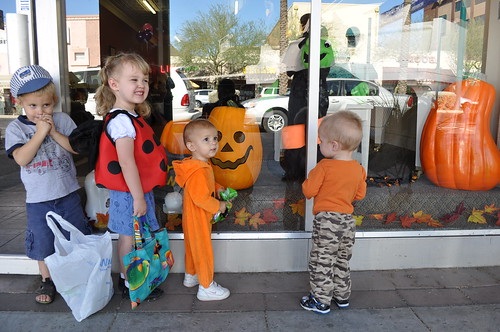Trick-or-treating down Main St Mesa