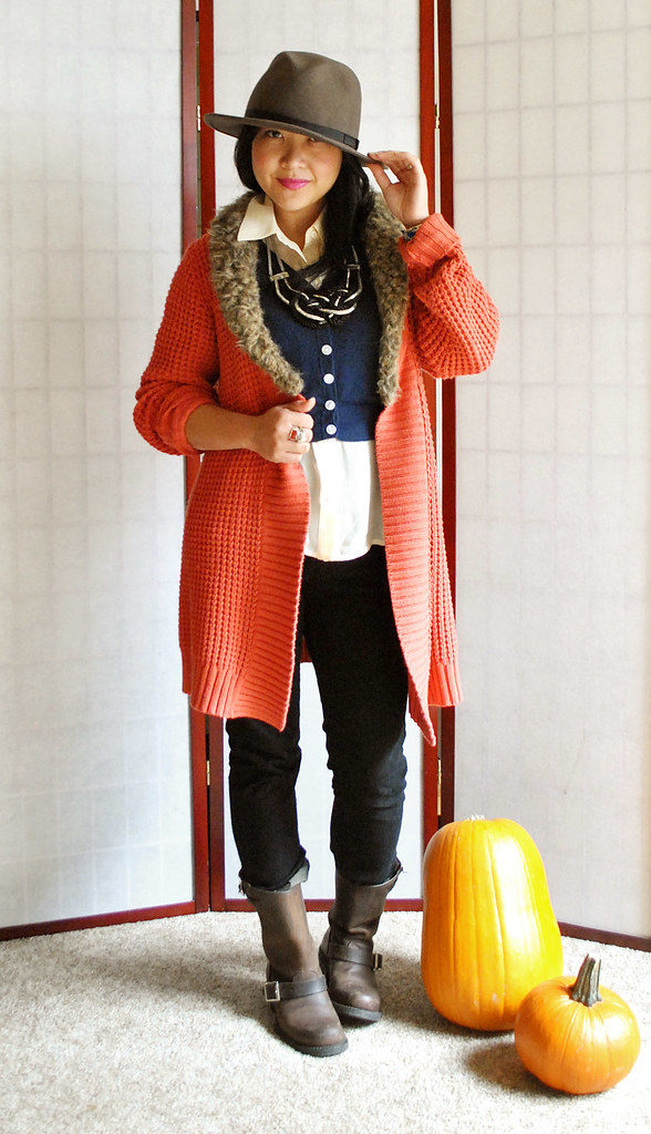 Fall Outfit - Coral Faux Fur Oversized Sweater Coat - Wide Brimmed Hat - Frye Engineer 8R Boots - Sheer Asymmetrical Top - Cropped Cardigan - Black Skinny Pants