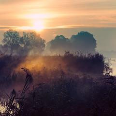 Sun and mist (warmianaturalnie) Tags: sun mist lake rays warmia
