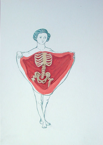 drawing of woman opening her skin to reveal her bones