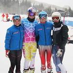 WMSC FIS Racers after training with World Cup Superstar Lindsay Vonn - Elizabeth Keppl, Lindsay Vonn, Rachel Vanderveen, Maria-Elana Trentini  PHOTO CREDIT: Jeff MacLennan, WMSC Coach
