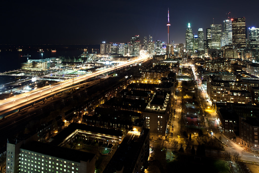 toronto skyline at night from a rooftop