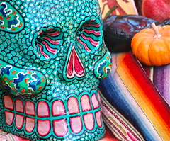 Psychedelic Grin (plantmanbuckner) Tags: california colors fruit dayofthedead skulls candles sandiego tequila skeletons offerings hallowmas diadelosinocentes theplantman