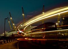 O2 at blue hour ([natali]) Tags: blue bus london night hour dome doubledecker lighttrail o2longexposure