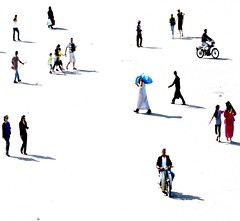 good morning marrakech (gregjack!) Tags: people woman men shadows silhouettes morocco marrakech llight djemaaelfna