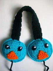 Birdy the bird earmuffs (Mooy) Tags: blue cute bird animal shop fun handmade crochet kawaii etsy birdy mooeyandfriends