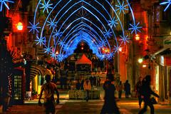 Merchants Street, Valletta, Malta. Christmas 2011 (leslievella64) Tags: christmas decorations night nikon d70 nikond70 malta leslie maltese malte valletta merchantsstreet maltais leslievella64