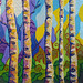"""Blissful Birches,"" acrylic and mixed media on canvas. Artist: Marion Bradish. facebook.com/riverflowstudio"