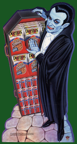 Frito-Lay Doritos - Pepsi - Halloween promotional in-store cardboard display - Dracula - 1993