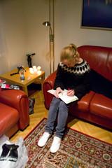 Lara in her Farmers Market jumper, writing her honeymoon diary (ianoak) Tags: iceland honeymoon lara jumper reykjavík castlehouse