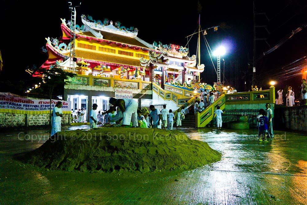 Preparation for Nine Emperor Gods propitiation farewell @ Ban Tha Rue Shrine, Phuket Vegetarian festival 2011, Phuket, Thailand