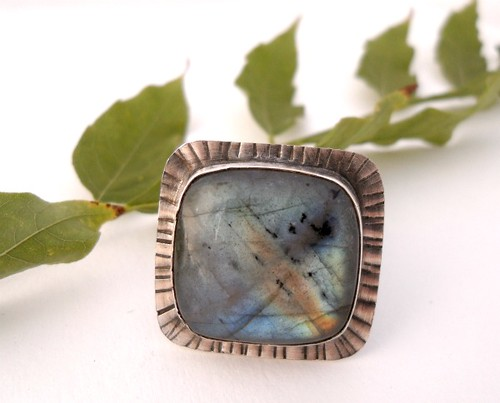 Labradorite Sterling Statement Ring