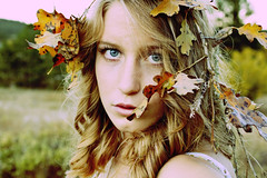 Autumn's Tale (Anna Skahill) Tags: autumn iris light portrait anna selfportrait fall girl leaves bokeh curves young teen blond portraiture processing teenager twigs canongirlt1i skahill annairis