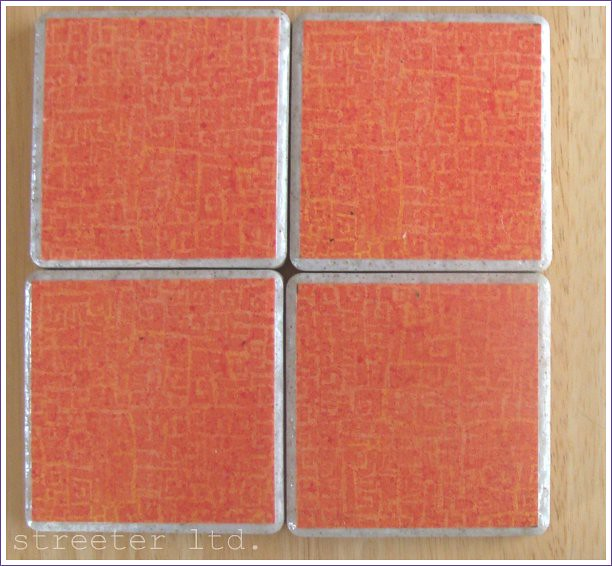 four piece orange coaster set