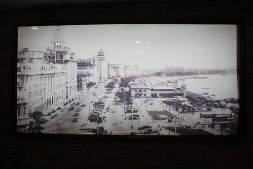 Old Picture of Shanghai Bund (The Bund) in People's Square underground mall, Shanghai, China