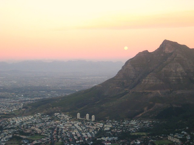 moonlit trek down lion's head, south africa