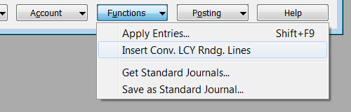 General Journal Error - Functions - Insert Conv. LCY Rndg. Lines