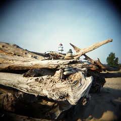 (jenny murray) Tags: lighthouse lake up holga paradise michigan superior upperpeninsula whitefishpoint rockcairn